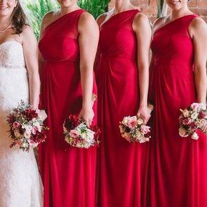 David's Bridal Red one Shoulder Formal Dress